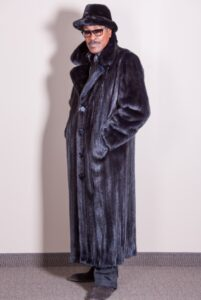 Man's full length Black Ranch Mink Coat with Matching Fedora
