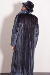 Man's full length Black Ranch Mink Coat Rear View