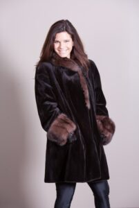 Black Sheared Mink Coat with Russian Sable Trim